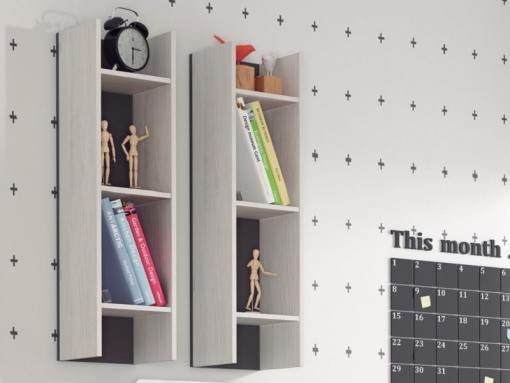 Two Sectional Wall Shelves Luddo. Vertical Hanging