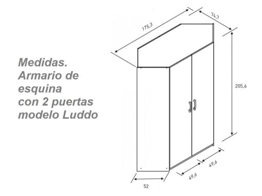 Dimensions of the Corner Wardrobe for Children's Room. 2 Doors, 6 Shelves - Luddo
