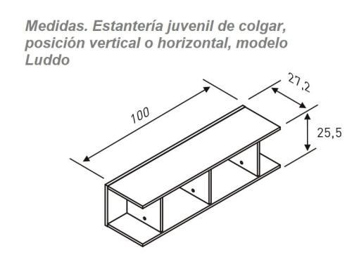 Medidas. Estantería juvenil de colgar, posición vertical o horizontal, modelo Luddo