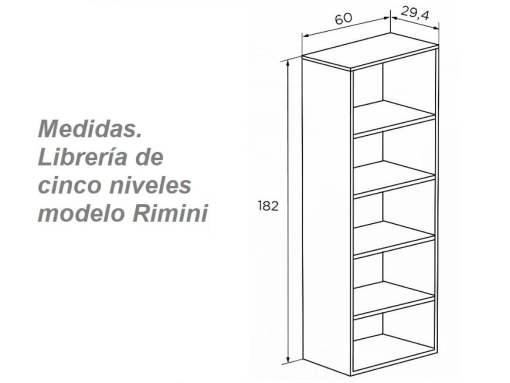 Medidas. Librería torre económica, cinco niveles - modelo Rimini