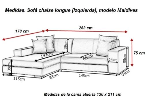 Dimensions. Chaise longue sofa with pull-out bed – Maldives