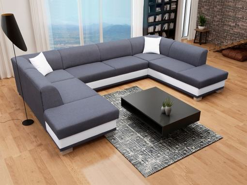 U-Shaped Panoramic Sofa in Grey and White, with Pull-out Bed and 2 Storage Compartments - Azores