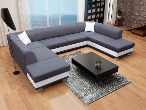 Sofá esquinero en forma de U con cama y 2 arcones, gris y blanco - Azores