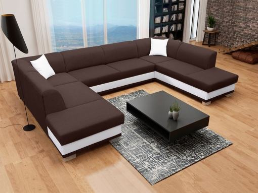 U-Shaped Panoramic Sofa in Brown and White, with Pull-out Bed and 2 Storage Compartments - Azores