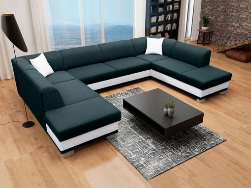 U-Shaped Panoramic Sofa in Black and White, with Pull-out Bed and 2 Storage Compartments - Azores