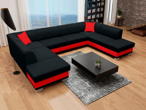 U-Shaped Panoramic Sofa in Black and Red, with Pull-out Bed and 2 Storage Compartments - Azores