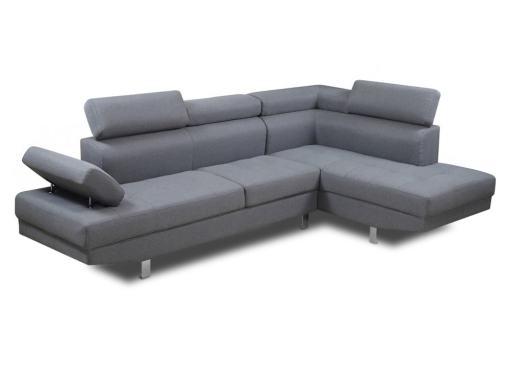 Sofa rinconera con reposacabezas reclinables, esquina lado derecho, color gris - Pamplona
