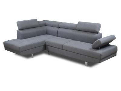 Modern Corner Sofa with Reclining Headrests - Pamplona. Left Side Corner. Grey Fabric