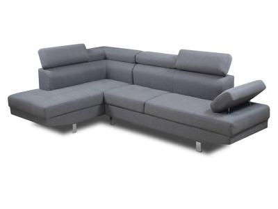 Sofa rinconera con reposacabezas reclinables, esquina lado izquierdo, color gris - Pamplona