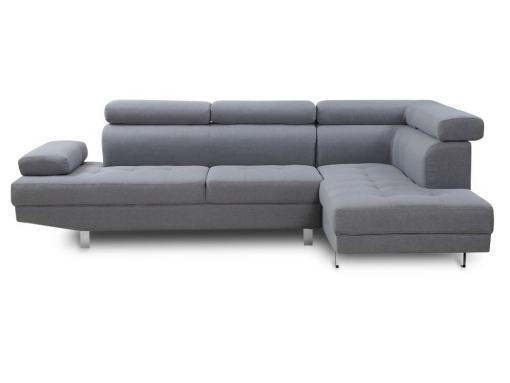 Vista de frente. Sofá rinconera con reposacabezas reclinables, color gris modelo Pamplona