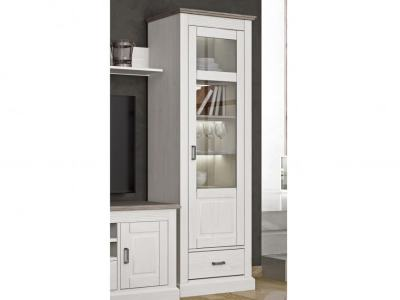 French Rustic Style Tall Cabinet with Glass Door and LED Lights - Provence