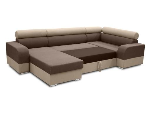 Pull-out bed. Spacious U-shaped sofa with pull-out bed - Milan. Right Side Corner, Brown and Beige