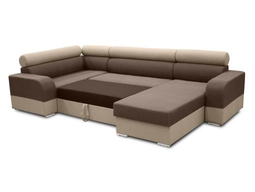 Pull-out bed. Spacious U-shaped sofa with pull-out bed - Milan. Left Side Corner, Brown and Beige