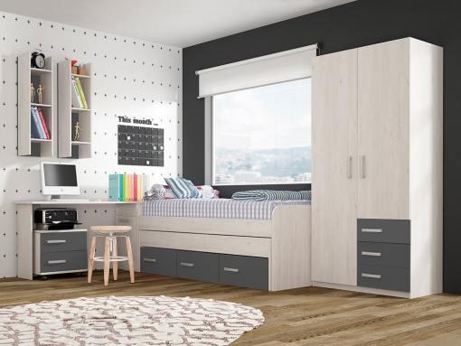 Conjunto dormitorio juvenil, color gris - cama, armario, escritorio, mesa de noche y estanterías - Luddo 18