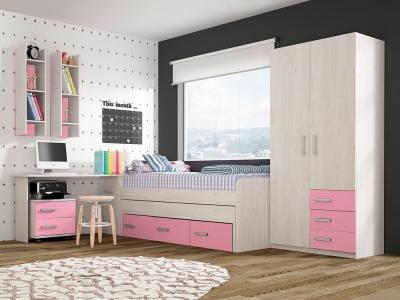 Conjunto dormitorio juvenil, color rosa - cama, armario, escritorio, mesa de noche y estanterías - Luddo 18