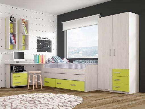 Conjunto dormitorio juvenil, color verde - cama, armario, escritorio, mesa de noche y estanterías - Luddo 18