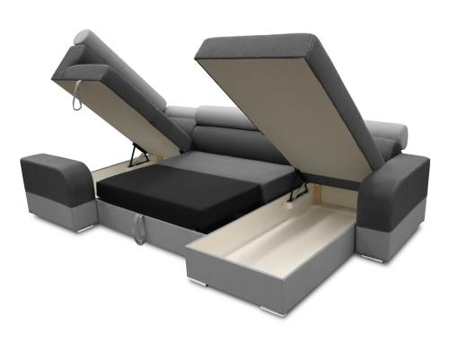 Two storage compartments and pull-out bed. U-shaped sofa - Milan. Left Side Corner, Dark Grey and Light Grey