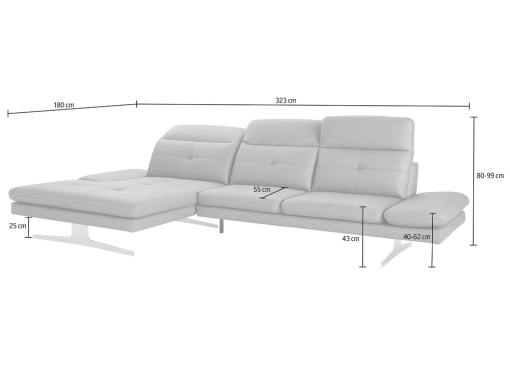 Medidas del sofá chaise longue moderno de piel auténtica. Modelo New York