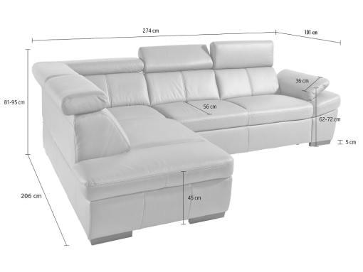 Medidas del sofá rinconera en piel auténtica con cama, arcón, reposacabezas reclinables - Vienna
