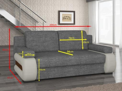 Medidas. Sofá cama pequeño moderno con cojines laterales modelo Cambridge