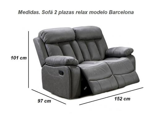 Dimensions of the 2 Seater Recliner Sofa - Barcelona