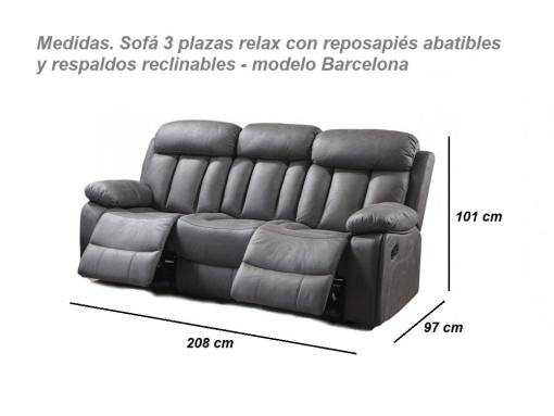 Dimensions of the Three Seater Recliner Sofa, Model Barcelona