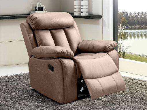 Recliner Armchair Upholstered in Beige Fabric - Barcelona. Fabric Jade