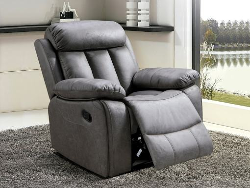 Recliner Armchair Upholstered in Grey Fabric - Barcelona. Fabric Jade