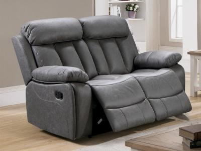 Sofá 2 plazas relax con reposapiés, respaldos reclinables, color gris - Barcelona. Tela Jade