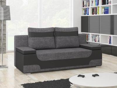 Two-Tone Sofa Bed with Storage. Grey and Black - Ely