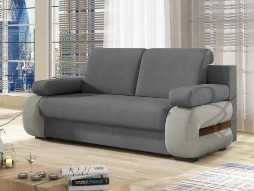 Sofá cama pequeño moderno con cojines laterales. 2 tonos de gris. Cambridge