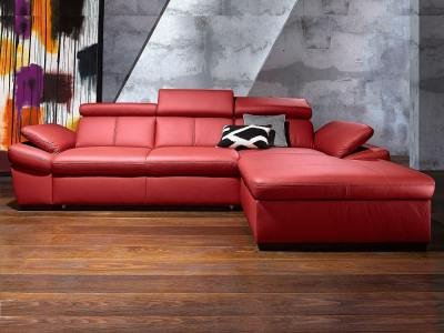 Red Real Leather Chaise Longue Sofa with Reclining Headrests - Vienna