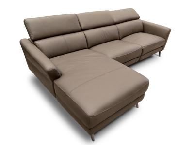Leather Chaise Longue Sofa with Electric Reclining Seat. Warm Grey Colour. Left Side Chaise Longue - Texas