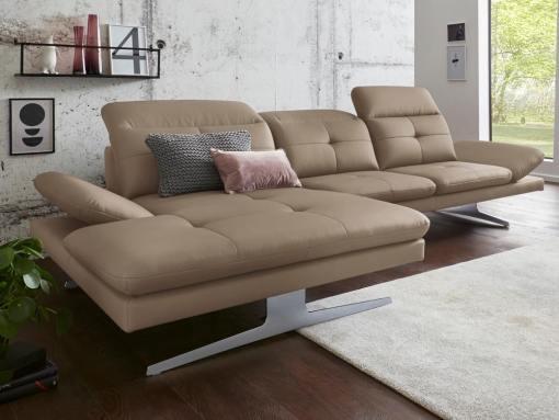 Sofá chaise longue moderno de piel auténtica color ''café con leche''. Chaise longue lado izquierdo - New York
