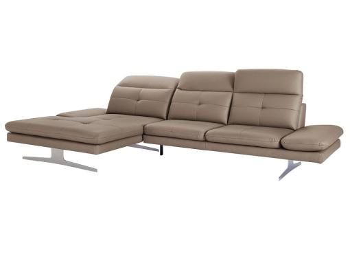 Sofá chaise longue moderno de piel auténtica color marron claro. Chaise longue lado izquierdo - New York