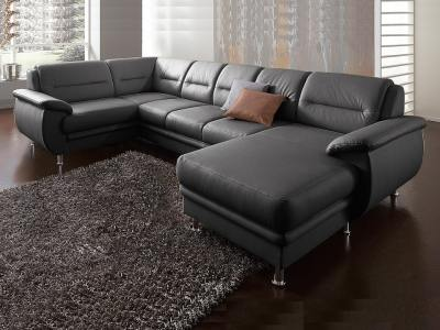 U-shaped Sofa in Real Leather - Chicago. Black Colour. Left Side Corner