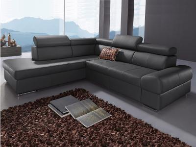 Corner Sofa with Pull-out Bed in Black Real Leather – Seattle. Left Side Corner
