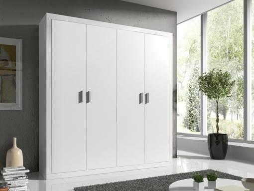 Armario moderno grande, 4 puertas batientes - Catania. Color blanco