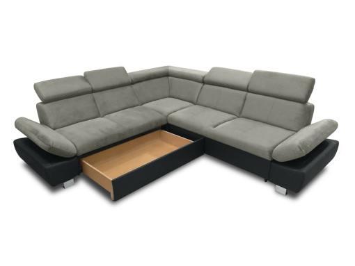 Baúl modo abierto (lado izquierdo) del sofá rinconera con cama modelo Reims