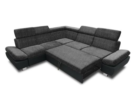 Cama abierta del sofá rinconera con baúl extraíble (izquierdo) y reposabrazos reclinables - Reims. Gris oscuro con negro