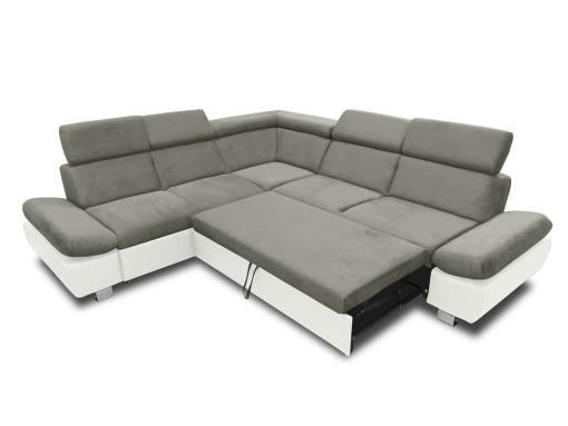 Cama abierta del sofá rinconera con baúl extraíble (izquierdo) y reposabrazos reclinables - Reims. Gris con blanco