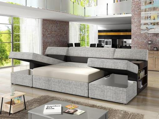 Bed and Storage Opened. U-shaped Sofa with Side Shelves, 2 Storage Compartments and Pull-out Bed - Preston