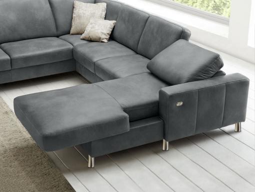 Chaise longue eléctrico del sofá tapizado en piel auténtica color gris modelo Cleveland