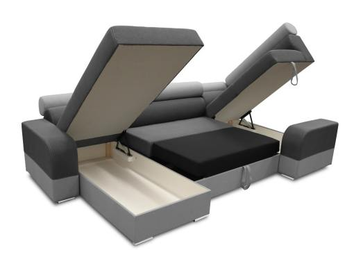 Two storage compartments and pull-out bed. U-shaped sofa - Milan. Right Side Corner, Dark Grey and Light Grey