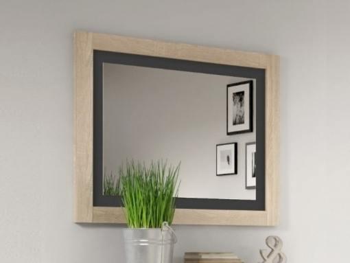 Espejo con marco bicolor 75 x 90 cm - Catania. Gris claro con gris. Roble con grafito (gris oscuro)