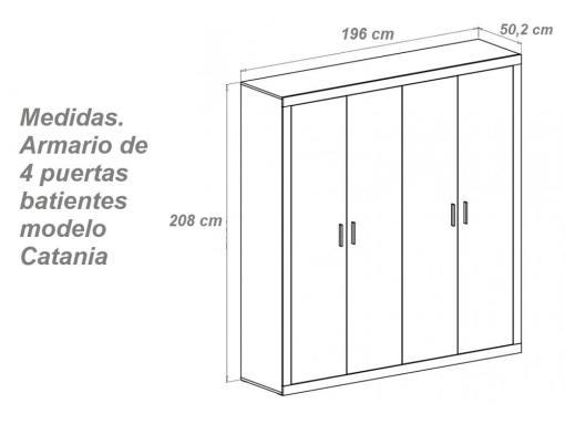 Medidas. Armario moderno de cuatro puertas batientes modelo Catania