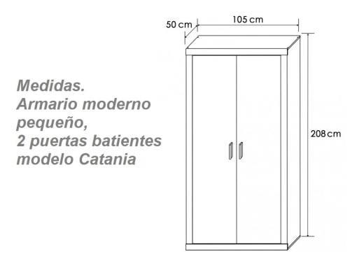 Medidas. Armario moderno pequeño, dos puertas batientes modelo Catania