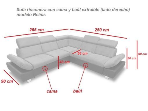 Medidas. Sofá rinconera con cama, baúl extraíble (derecho) - Reims