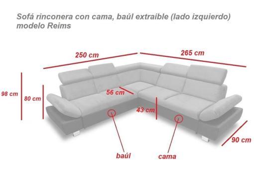 Medidas. Sofá rinconera con cama, baúl extraíble (izquierdo) - Reims