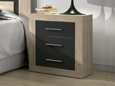 "Modern 3 drawers bedside cabinet - Catania. ""Oak"" with dark grey (""graphite"") fronts"
